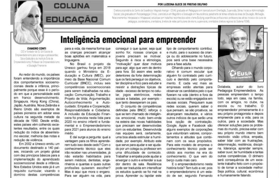 Coluna Educação – Inteligência Emocional para empreender – Jornal O Folha de Contagem